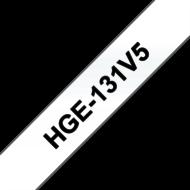 """BROTHER szalag HGe-131, Átlátszó alapon Fekete, Nagy sebességű, 12mm  0.47"""", 8 méter, 5db/csomag"""