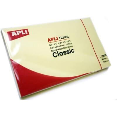 APLI Öntapadó jegyzettömb, 125x75 mm, 100 lap, , sárga