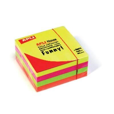APLI Öntapadó jegyzettömb, 75x75 mm, 400 lap, , neon