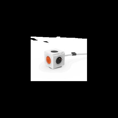 Allocacoc PowerCube hálózati elosztó be-, kikapcsoló gombbal 1.5m fehér-narancssárga 1513/EUEXRM