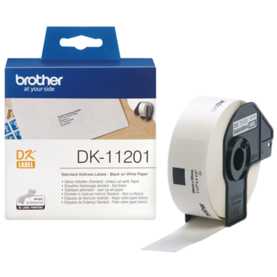 BROTHER Etikett címke DK-11201, Standard etikett címke, Elővágott (stancolt), Fehér alapon fekete, 400 db