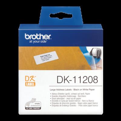 BROTHER Etikett címke DK-11208, Nagy etikett címke, Elővágott (stancolt), Fehér alapon fekete, 400 db