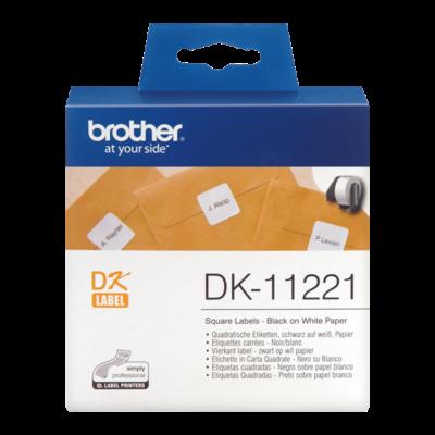 BROTHER Etikett címke DK-11221, Négyzet alakú címke, Elővágott (stancolt), Fehér alapon fekete, 1000 db