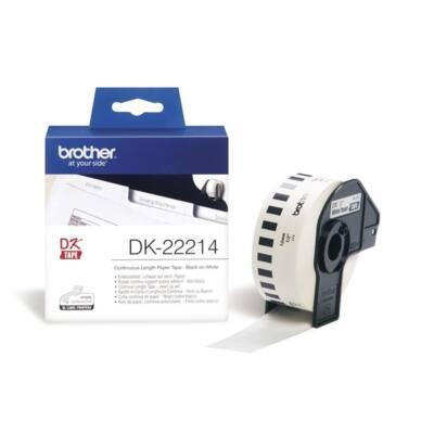 BROTHER Etikett címke DK-22214, Fehér alapon fekete papírszalag tekercsben 12mm, 12mm x 30.48M