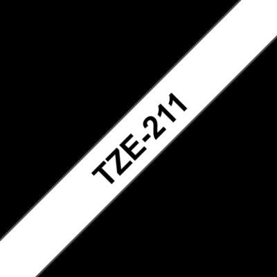 """BROTHER szalag TZe-211, Fehér alapon Fekete, Laminált, 6mm  0.23"""", 8 méter"""