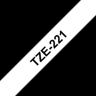 """BROTHER szalag TZe-221, Fehér alapon Fekete, Laminált, 9mm  0.35"""", 8 méter"""