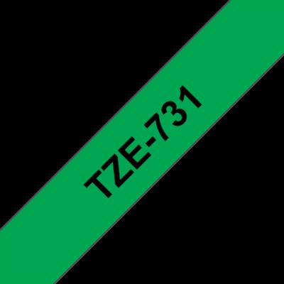 """BROTHER szalag TZe-731, Zöld alapon Fekete, Laminált, 12mm  0.47"""", 8 méter"""
