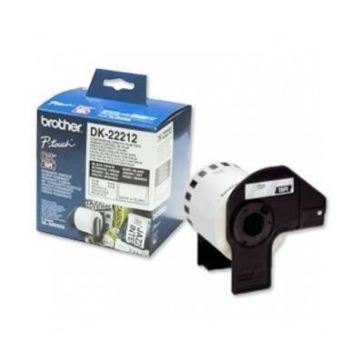 BROTHER Etikett címke DK22212, Fehér alapon fekete, filmrétegű szalag tekercsben 62mm, 62mm x 15.24M
