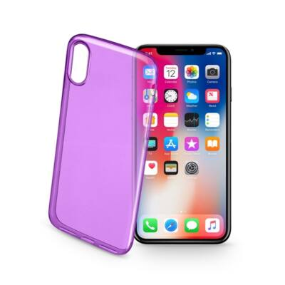 Cellularline tok, Color Case, ultra vékony, átlátszó, gumi iPhone X, lila
