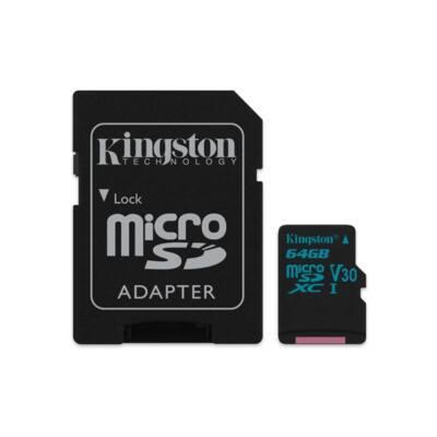KINGSTON Memóriakártya MicroSDXC 64GB Canvas Go 90R/45W U3 UHS-I V30 + Adapter
