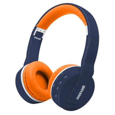 MAXELL bluetooth headset fejhallgató, BT800, Hi-RES, kék-narancssárga