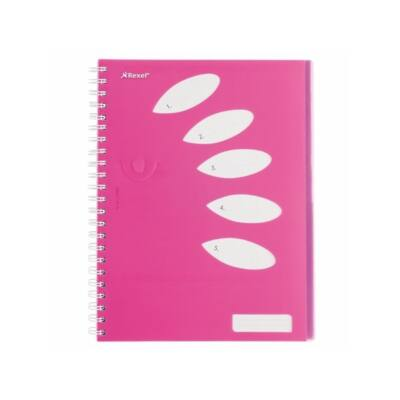 """REXEL Spirálfüzet, A4, vonalas, 125 lap, 5 részes, REXEL """"Joy"""", rózsaszín"""