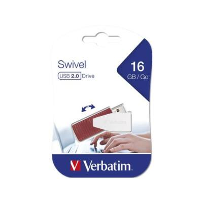 "VERBATIM Pendrive, 16GB, USB 2.0, 8/2MB/sec, ""Swivel"", Piros"